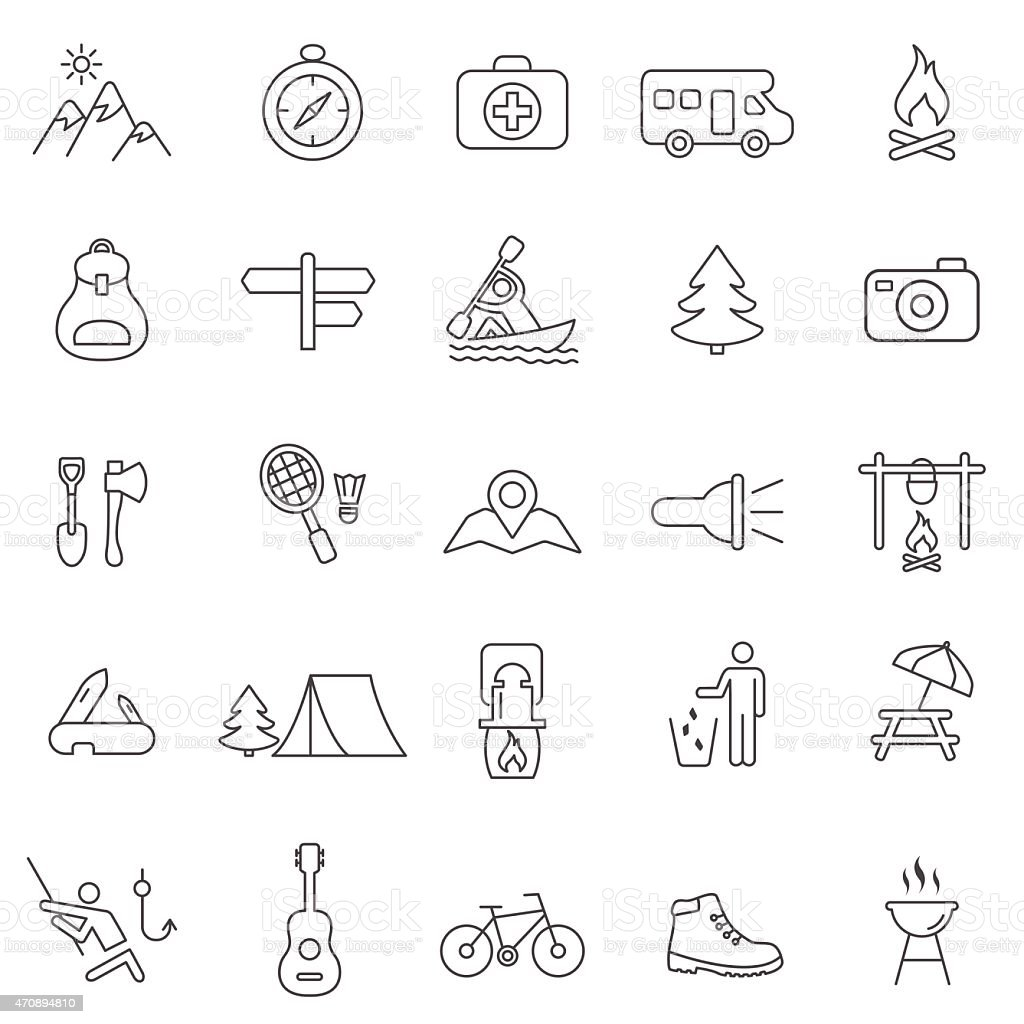 Camping line icons set.Vector vector art illustration