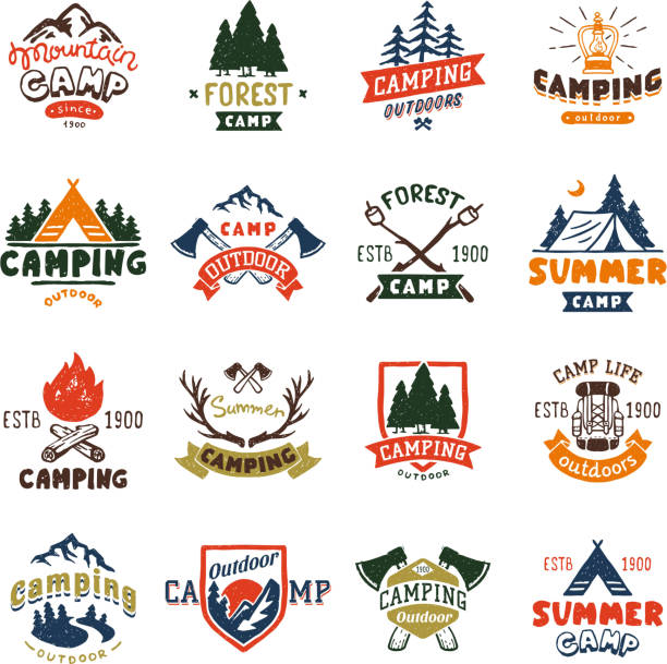 Camping logo badges and travel template hand drawn emblems vector illustration vector art illustration