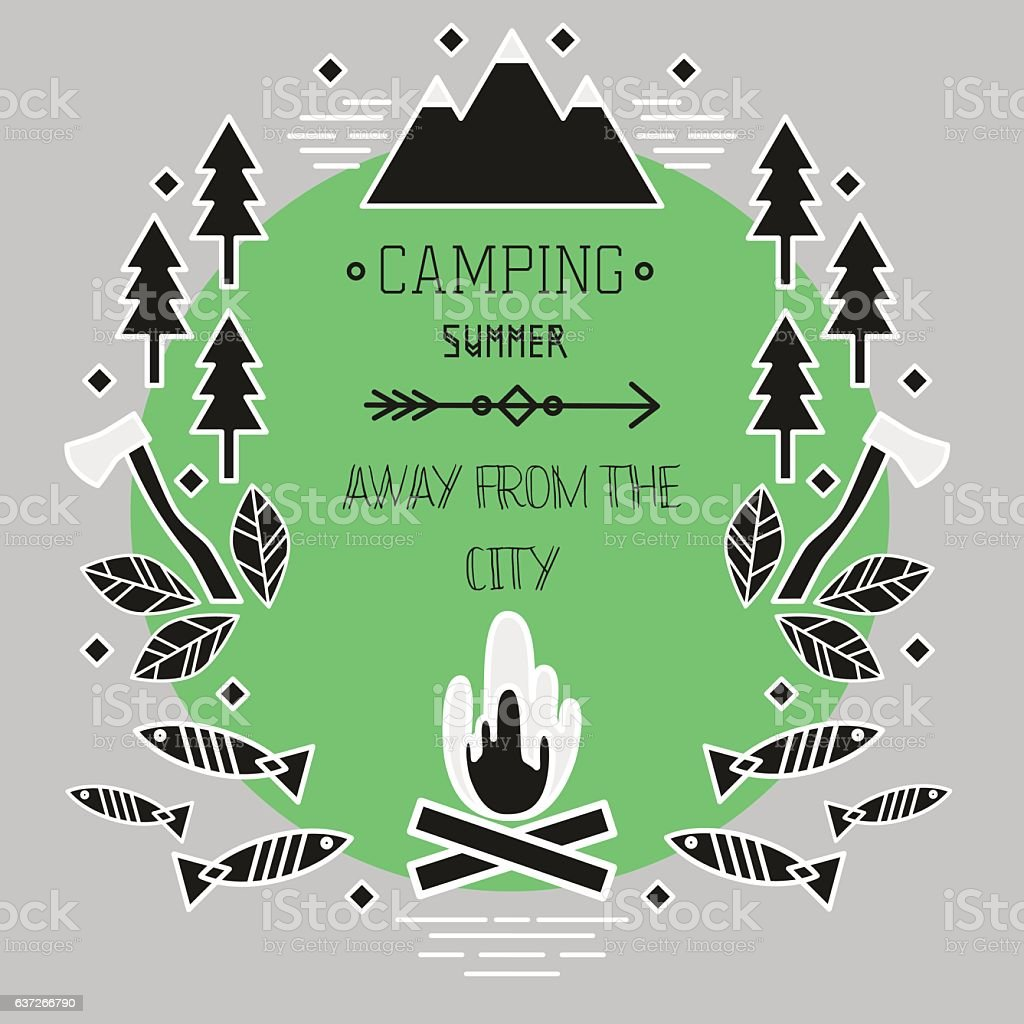 Logo Camping. Axes,fish, fires, forest and mountains .Your text....