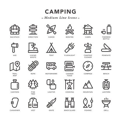 Camping - Medium Line Icons