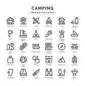 Camping - Medium Line Icons - Vector EPS 10 File, Pixel Perfect 30 Icons.