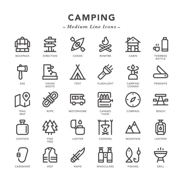 camping - medium line icons - log cabin stock illustrations, clip art, cartoons, & icons