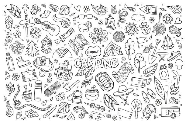 Camping nature symbols and objects Camping nature hand drawn vector symbols and objects adventure drawings stock illustrations