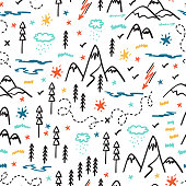Camping Nature Vector Background for Kids. Cartoon Mountain and Forest Area Map Seamless Pattern. Hand Drawn Doodle Mountains, Hills, Trees, Hiking Trails and Night Starry Sky