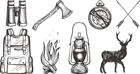 Vector illustration of hand drawn forest camping vacation objects set: binoculars, ax, compass, arrows, travel backpack, bonfire, lantern, deer silhouette. Vintage engraving style.
