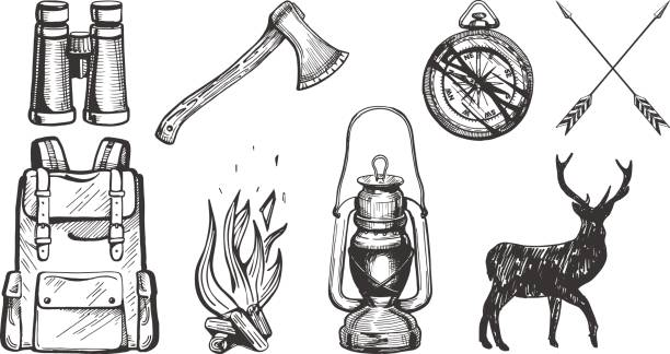 Camping objects set Vector illustration of hand drawn forest camping vacation objects set: binoculars, ax, compass, arrows, travel backpack, bonfire, lantern, deer silhouette. Vintage engraving style. lantern stock illustrations