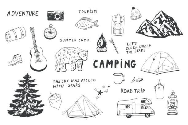 stockillustraties, clipart, cartoons en iconen met camping objecten instellen. - caravan
