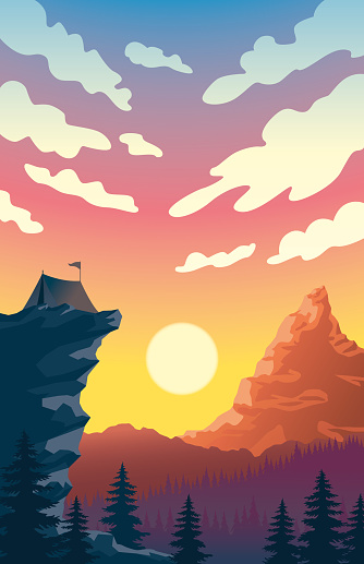 Camping on a Sunset Over Large Mountains