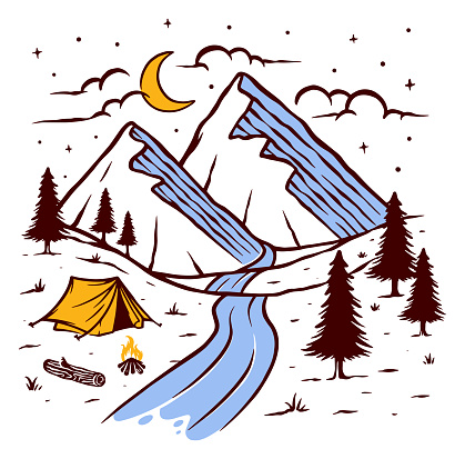 Camping on the mountain vector illustration