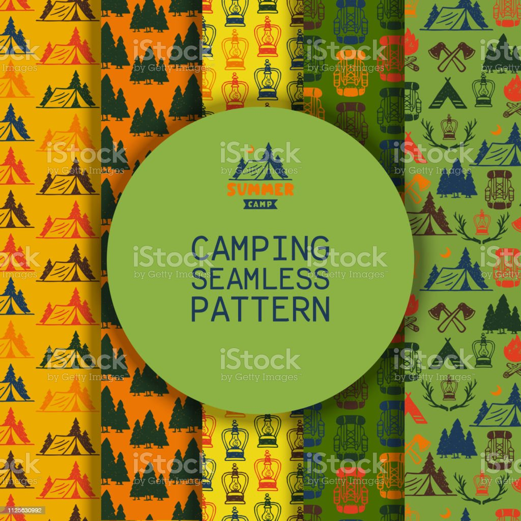 Camping Outdoor Activities Vector Illustration Camping Scene