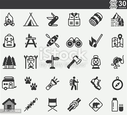 Camping ,Outdoor ,Travel Silhouette Icons