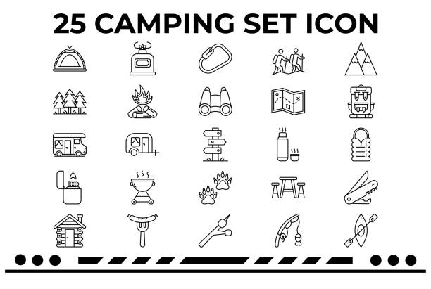 Camping & Outdoor This is an Icon Set about Camping,Hiking,Outdoor,Trailer,Fireplaces,Cabin in the woods. rv interior stock illustrations