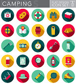 Camping & Outdoors Flat Design Icon Set with Side Shadow