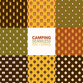 Camping & Outdoors Seamless Pattern Set