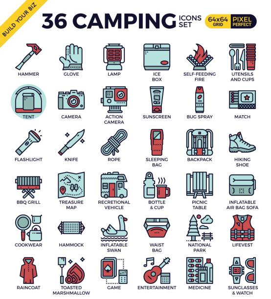 camping gliederung symbole - leinensofa stock-grafiken, -clipart, -cartoons und -symbole