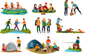 Camping people set with tent food and nature symbols flat isolated vector illustration