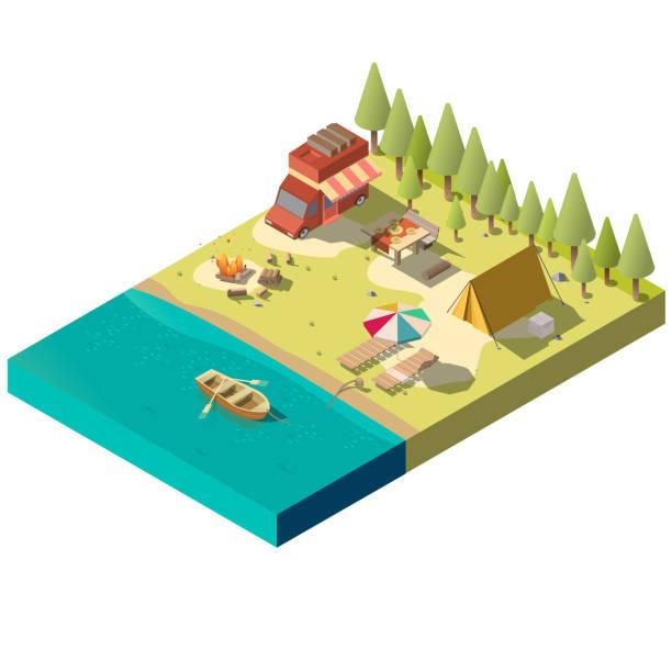 stockillustraties, clipart, cartoons en iconen met kampeerplaats aan rivieroever isometrische vector - wildplassen