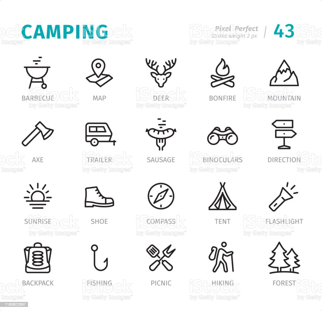 Camping pack - 20 Outline Style - Single line icons with captions /...