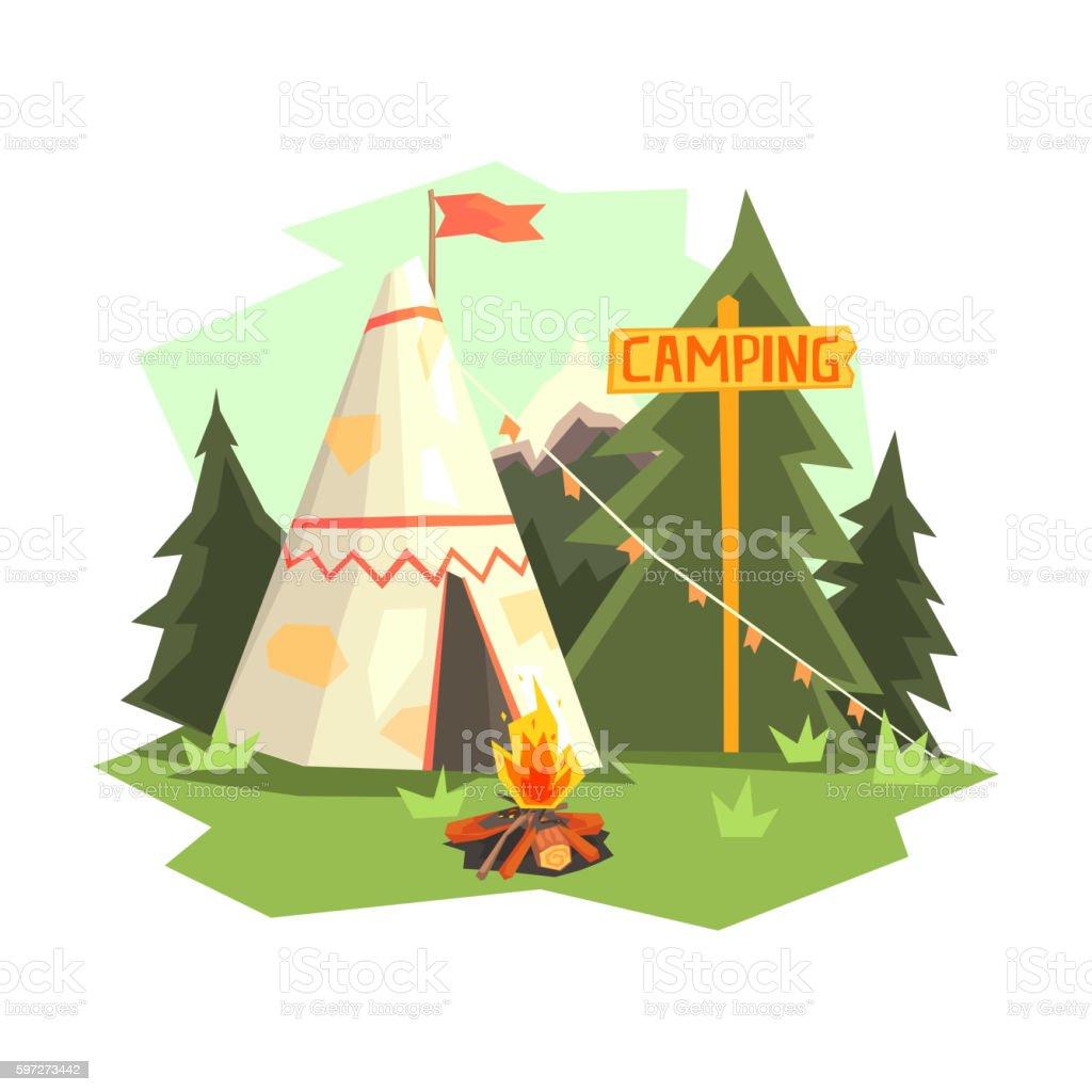 Camping Place With Bonfire, Wigwam And Forest Lizenzfreies camping place with bonfire wigwam and forest stock vektor art und mehr bilder von abenteuer
