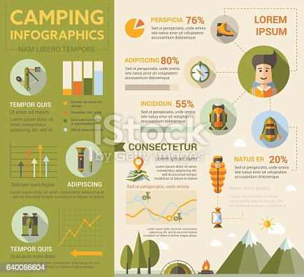 Camping - info poster, brochure cover template layout with flat design icons, other infographic elements and filler text