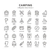 Camping - Regular Line Icons - Vector EPS 10 File, Pixel Perfect 30 Icons.