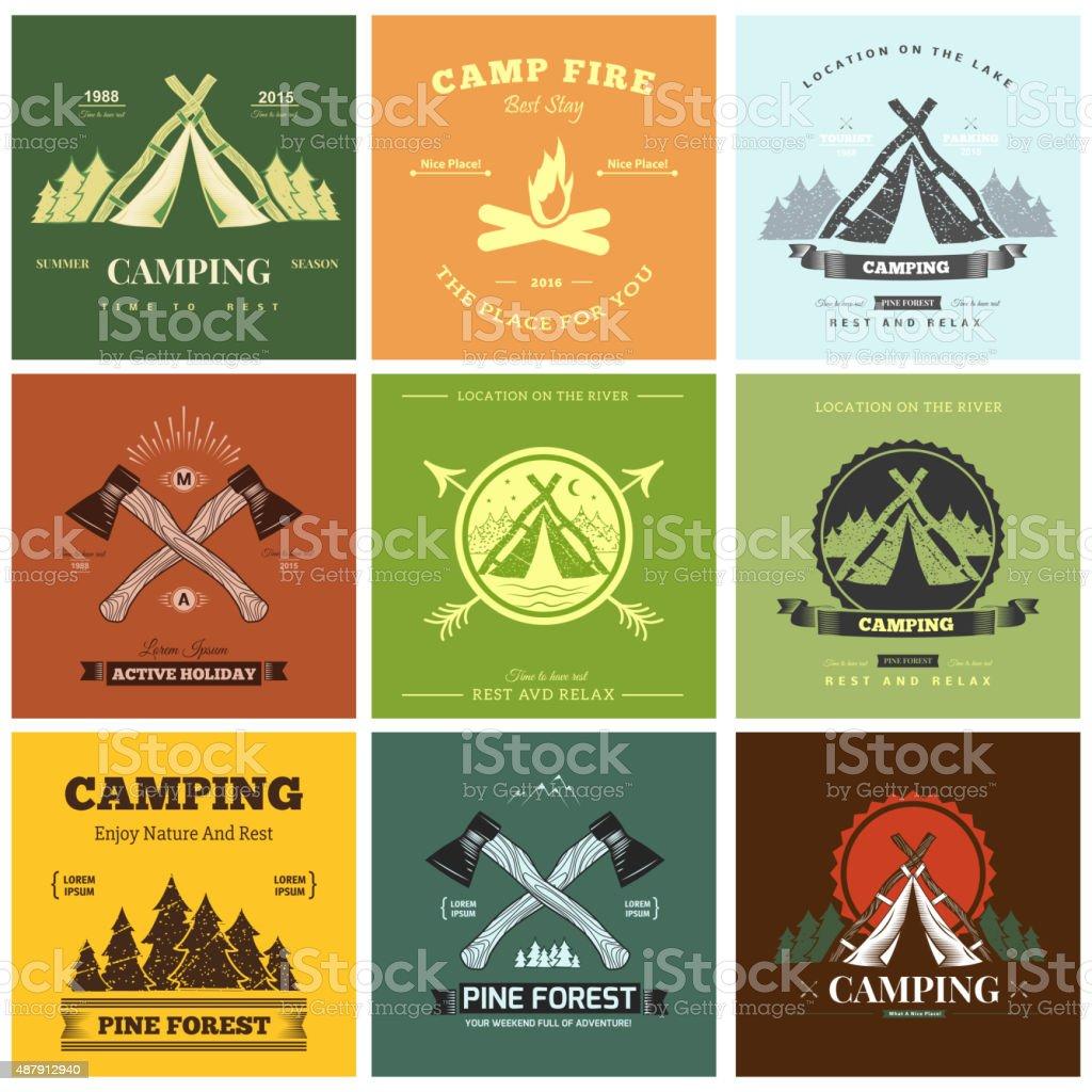 Camping  retro vector vector art illustration