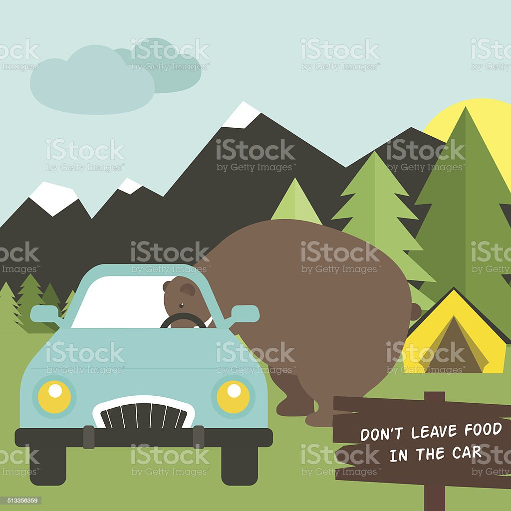 Camping Rules vector art illustration