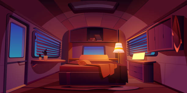 Camping rv trailer car interior with bed at night Camping trailer car interior with bed and glowing floor lamp at night time. Desk with laptop, jalousie on windows. Rv home dark bedroom inside view, cozy place for sleeping Cartoon vector illustration rv interior stock illustrations