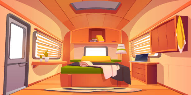 Camping rv trailer car interior with unmade bed, Camping trailer car interior with unmade bed, desk with laptop, shelf with books, cacti plants and jalousie on windows. Rv home bedroom inside view, cozy place for sleeping Cartoon vector illustration rv interior stock illustrations