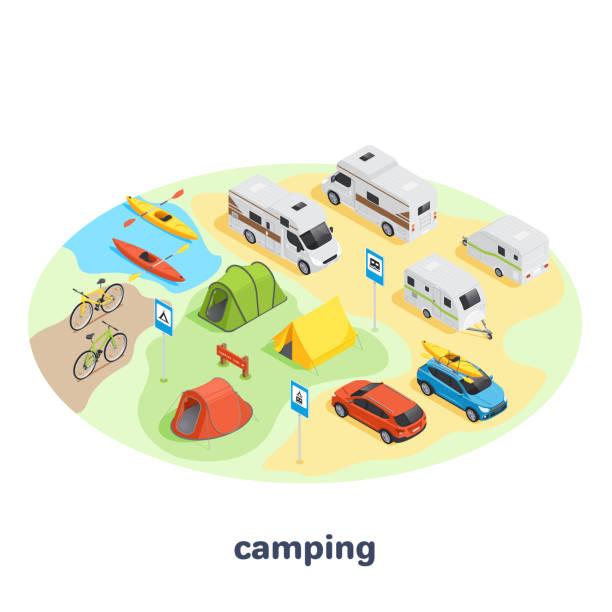camping sat1 vector art illustration
