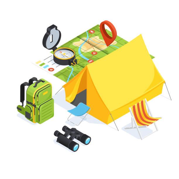 camping sat3 vector art illustration
