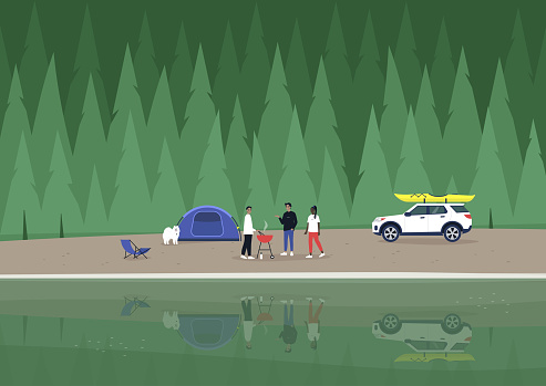A camping scene, a diverse group of characters making barbecue at the mountain lakeshore, a spruce forest in the background