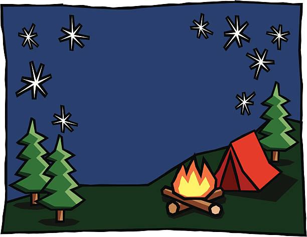 Camping Scene Background Vector Art Illustration