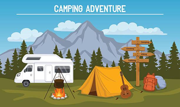 ilustrações de stock, clip art, desenhos animados e ícones de camping scene - camping