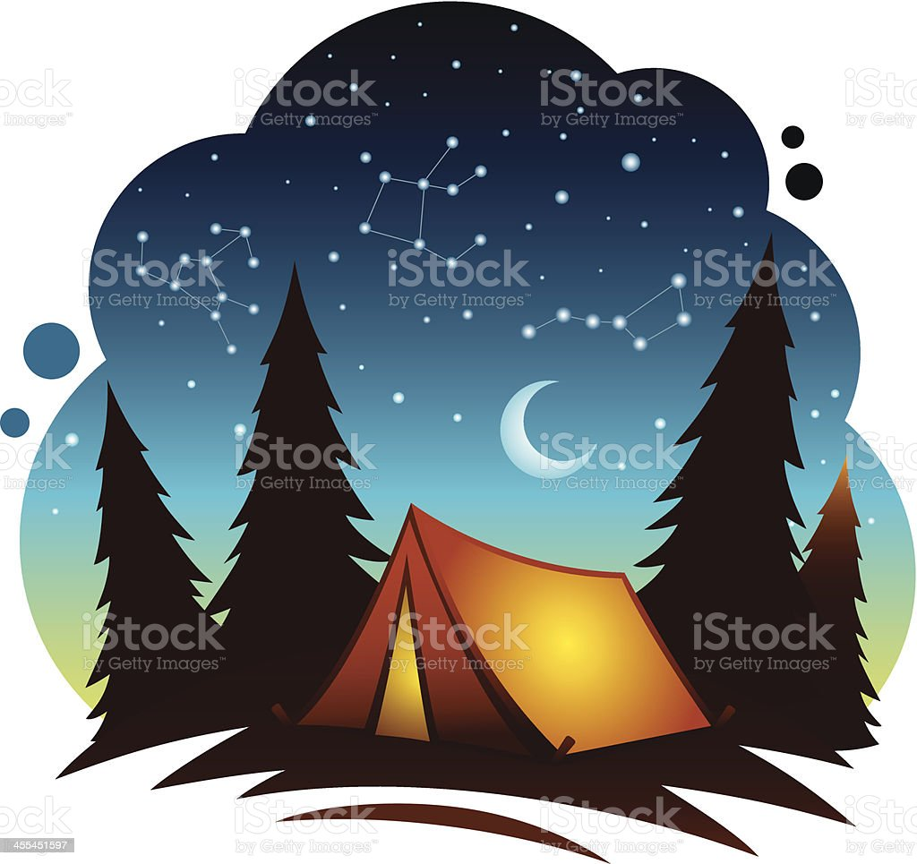 Camping Scene with Tent royalty-free stock vector art