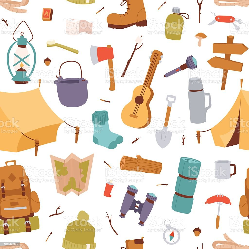 Camping seamless pattern vector illustration. vector art illustration
