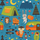 camping seamless pattern with animals in the forest at night  - vector illustration, eps