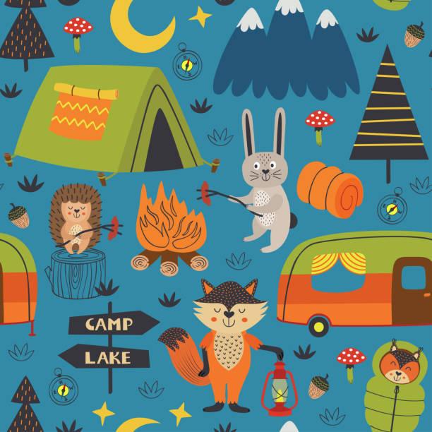 bildbanksillustrationer, clip art samt tecknat material och ikoner med camping sömlösa mönster med djur i skogen på natten - animal doodle