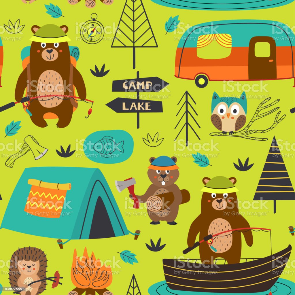 camping seamless pattern with animals on the lake vector art illustration