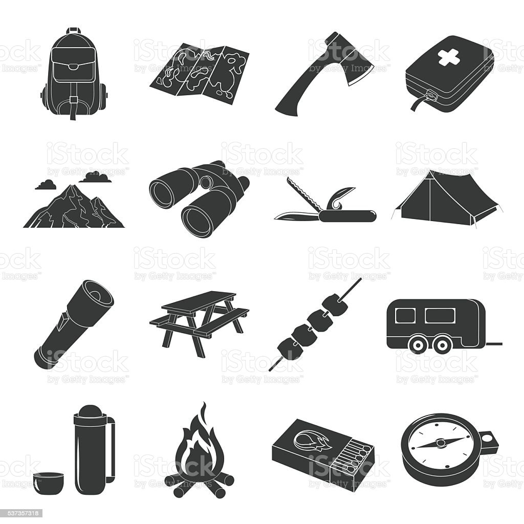 Camping set vector icons. Collection of tourist, camp, travel icons...