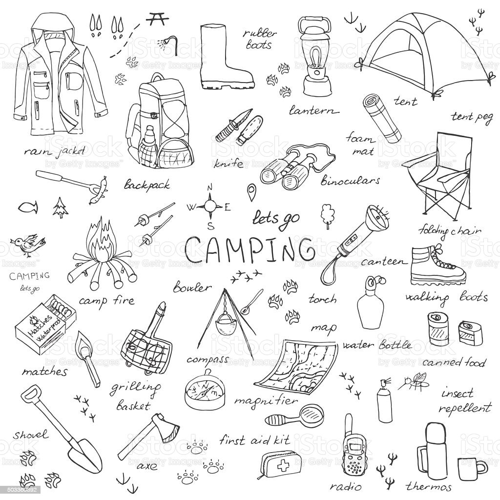 Camping set vector art illustration