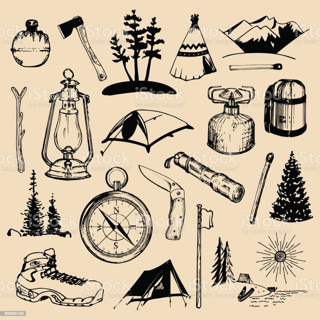 Camping sketched elements. Vector set of vintage hand drawn outdoor adventures illustrations for emblems, badges etc. vector art illustration