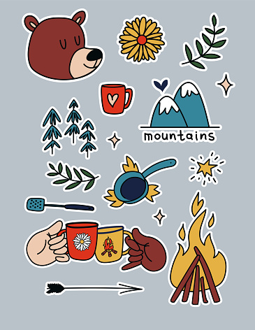 Camping stickers set. Cartoon elements of the forest, campfire. Collection of hiking and cooking travel stickers in the mountains. Vector illustrations of outdoor recreation isolated.