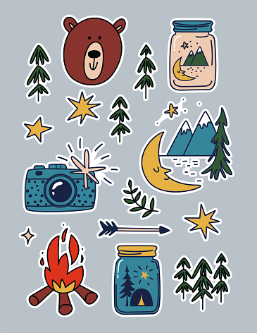 Camping stickers set. Cartoon patches of mountains, bears, campfires. Collection of travel stickers vacation in the mountains. Vector illustration of camping inside a jar, camera, and stars isolated.