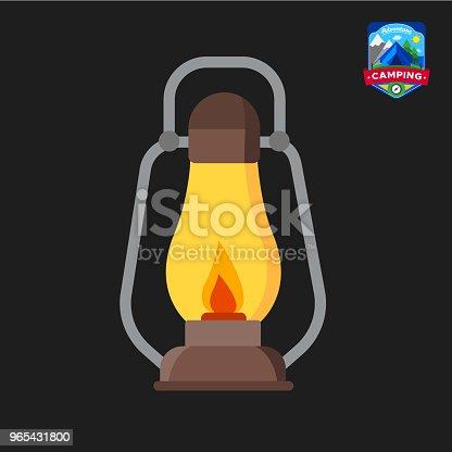 Camping Summer Lantern Icon Outdoor Camp Tourism Isolated Vector Illustration In Cartoon Style - Stockowe grafiki wektorowe i więcej obrazów Bez ludzi 965431800