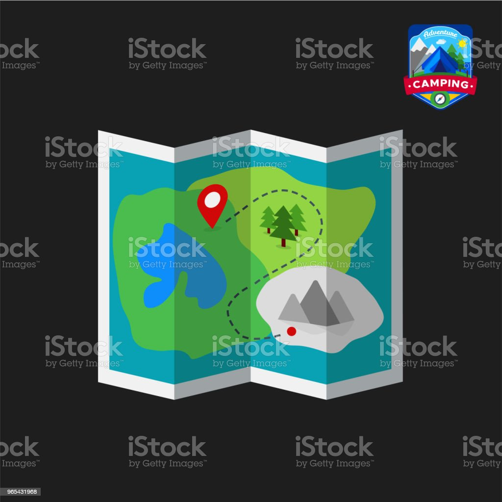 Camping summer map icon. Outdoor camp tourism. Isolated vector illustration in cartoon style royalty-free camping summer map icon outdoor camp tourism isolated vector illustration in cartoon style stock vector art & more images of design
