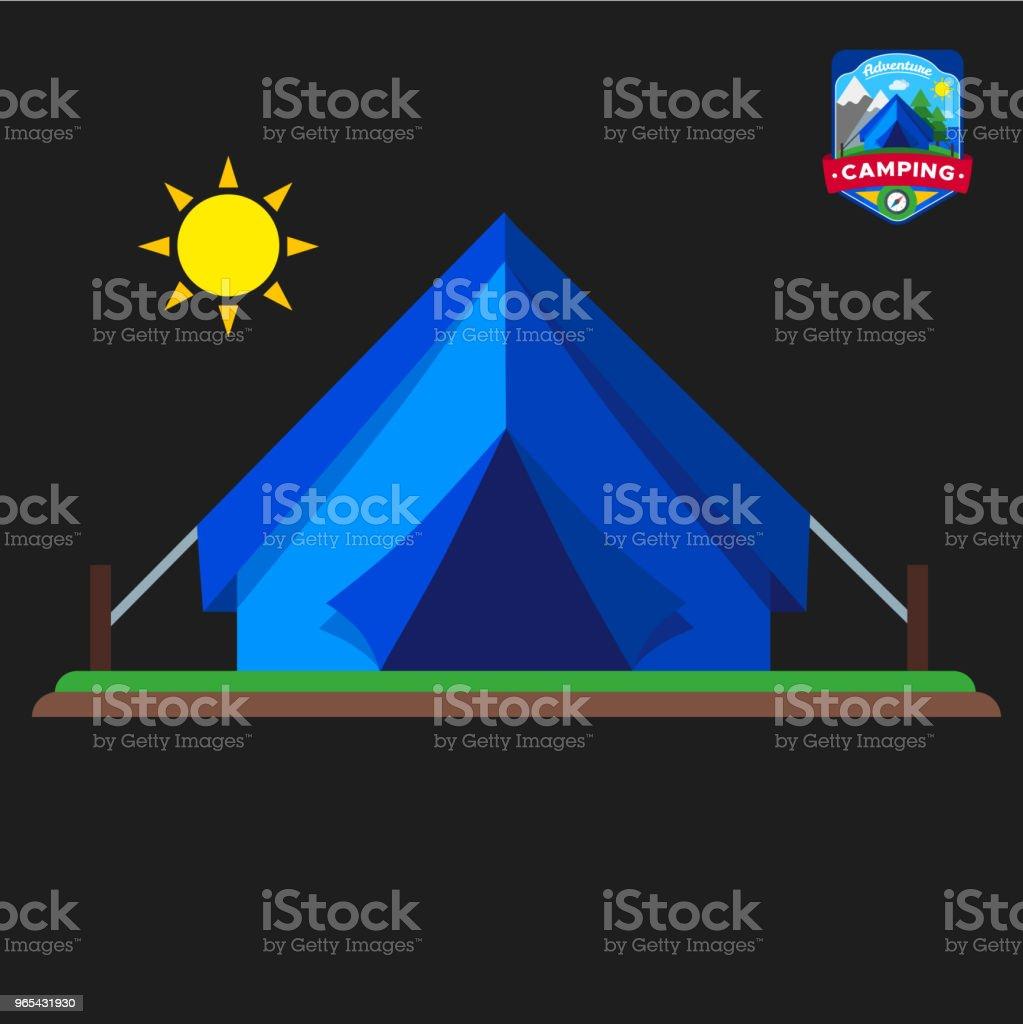 Icône des tentes de camping l'été. Tourisme de plein air camp. Illustration vectorielle isolé en style cartoon - clipart vectoriel de Contour libre de droits