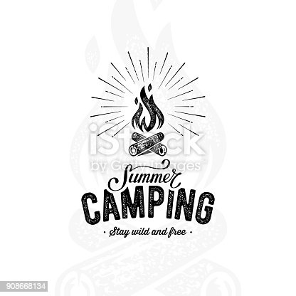 Summer camping sign with a fire. Vector illustration.