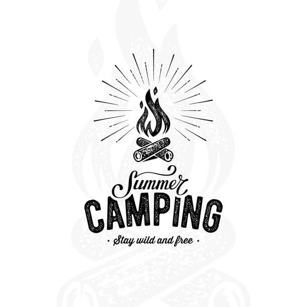 stockillustraties, clipart, cartoons en iconen met camping zomer wit - illustraties van bosbrand