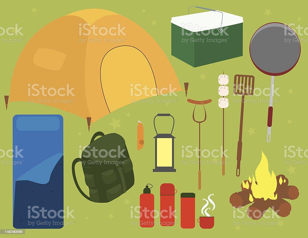 Camping Supplies royalty-free stock vector art
